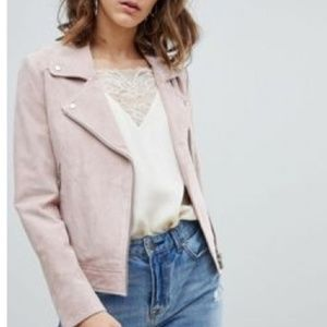 Current Air pink suede biker jacket